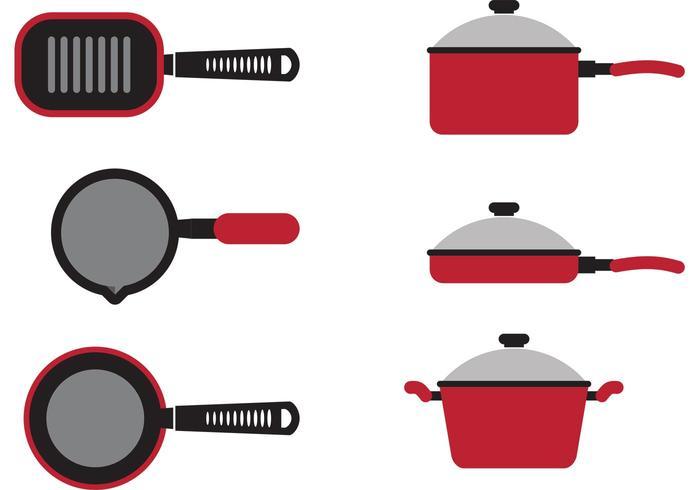 Vetores de panela de cozinha vermelha