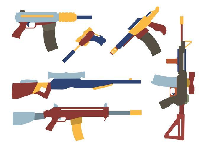 Coleção de formas coloridas de armas vetor