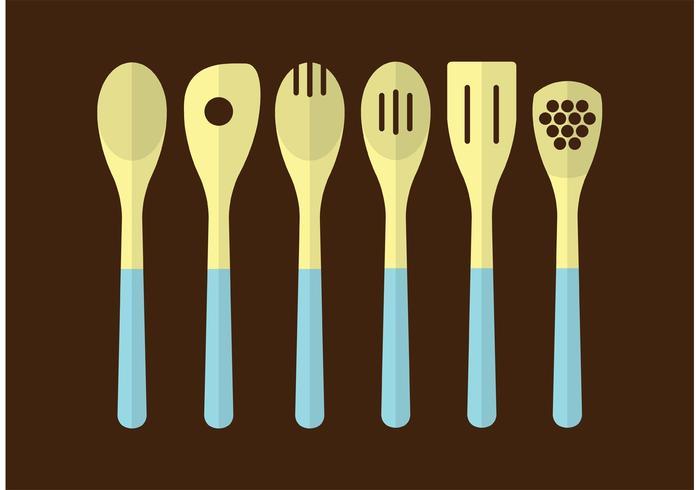 Utensílios de cozinha de madeira vetor