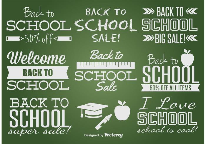 Conjunto de etiquetas de volta ao escola vetor