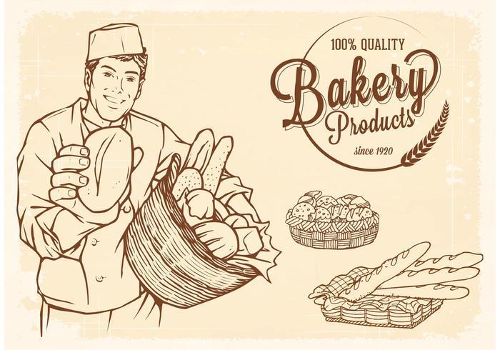 Livre, vetorial, desenhado, velho, cesta, pão vetor