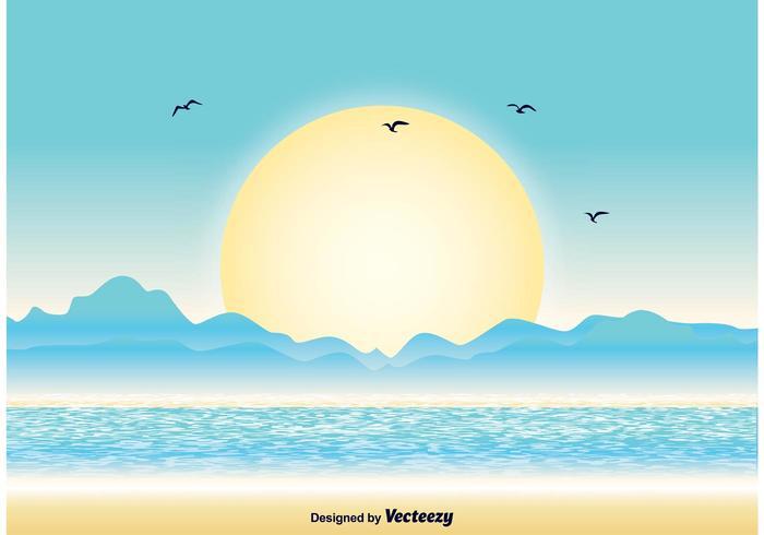 Ilustração do por do sol do oceano vetor