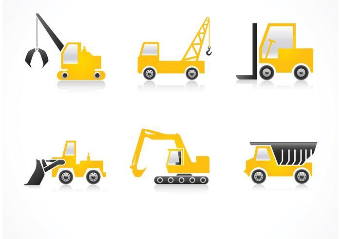Ícones de vetor de veículos de construção gratuitos