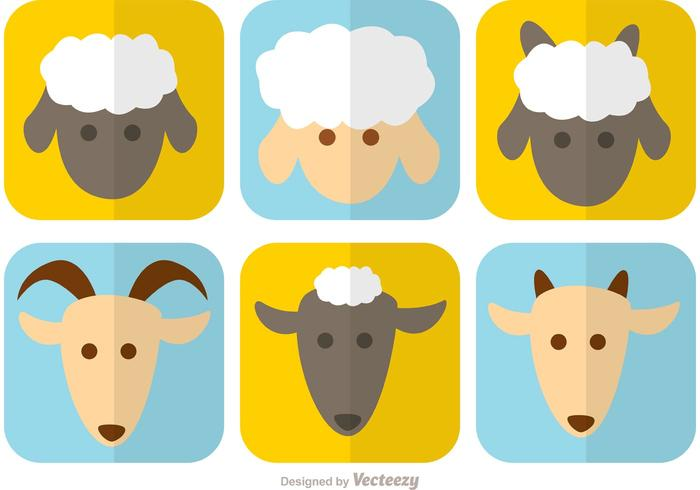 Caras de vetor de cabra e ovelha