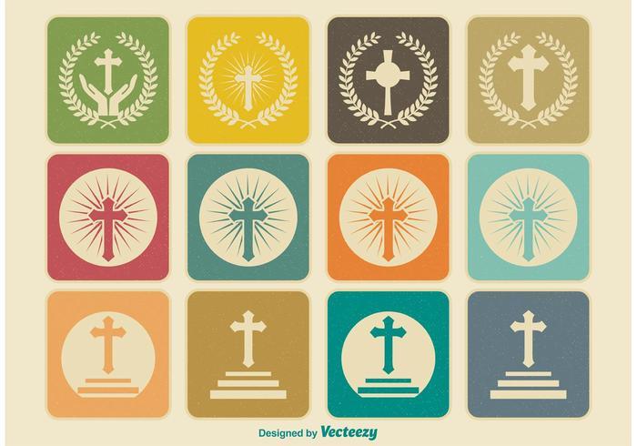 Ícones cruzados religiosos retros vetor