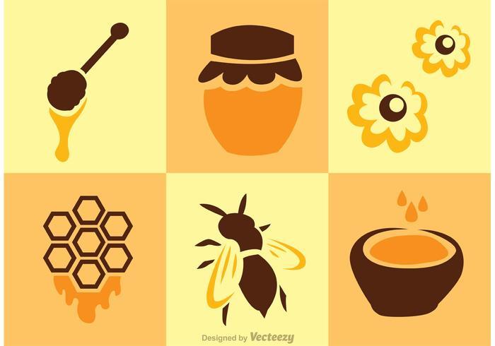 Vetores de abelhas e mel