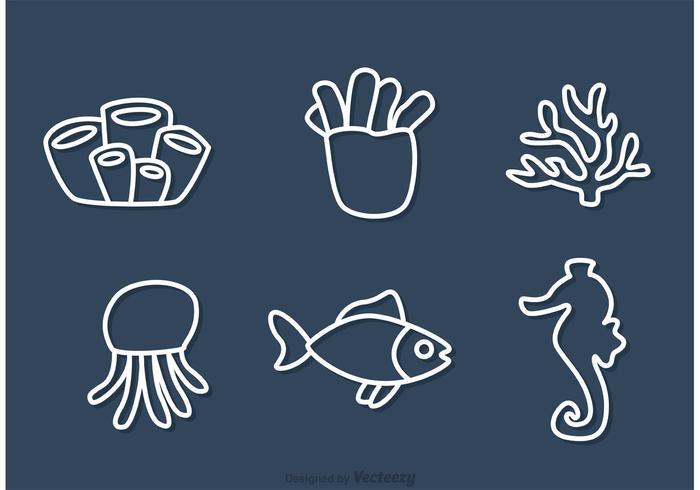 Esboço de recifes de corais e vetores de peixe