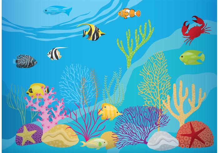 Recife de corais com peixe vetor