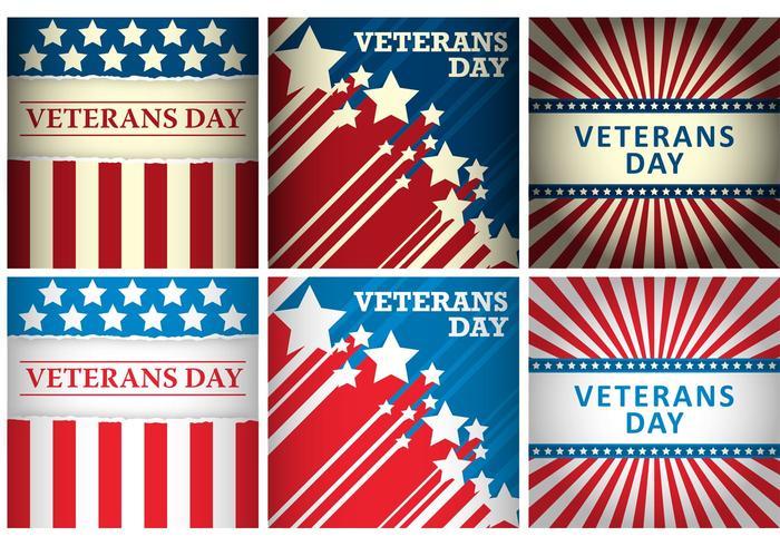 Cartões vetoriais do dia dos veteranos vetor