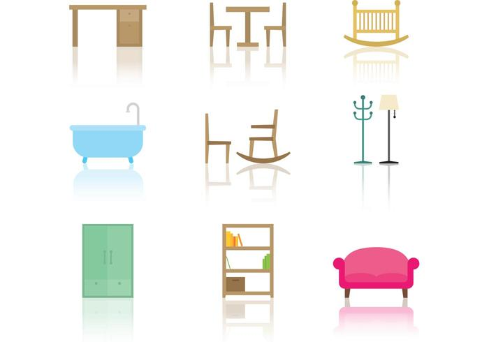 Ícones do vetor de móveis