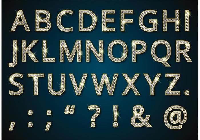Livre alfabeto dourado com vetor de diamantes