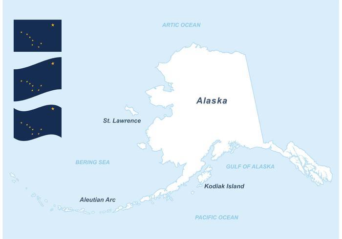Mapa e bandeiras gratuitas do vetor do alasca