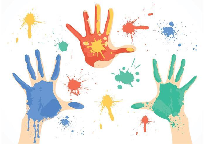 Vetor de mãos de tinta sujas grátis