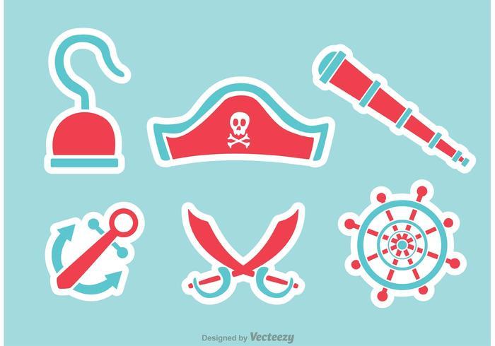 Vetores de ícones planos do pirata