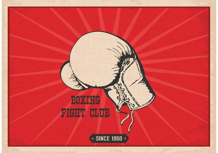 Livre vetor de cartaz de luva de boxe retro