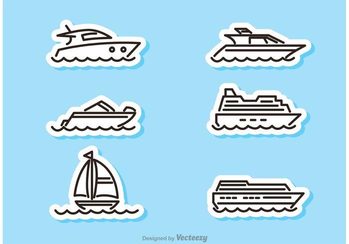 Vetores da etiqueta do navio e do barco