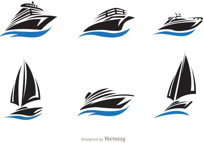 Conjunto de vetores de barcos e barcos rápidos