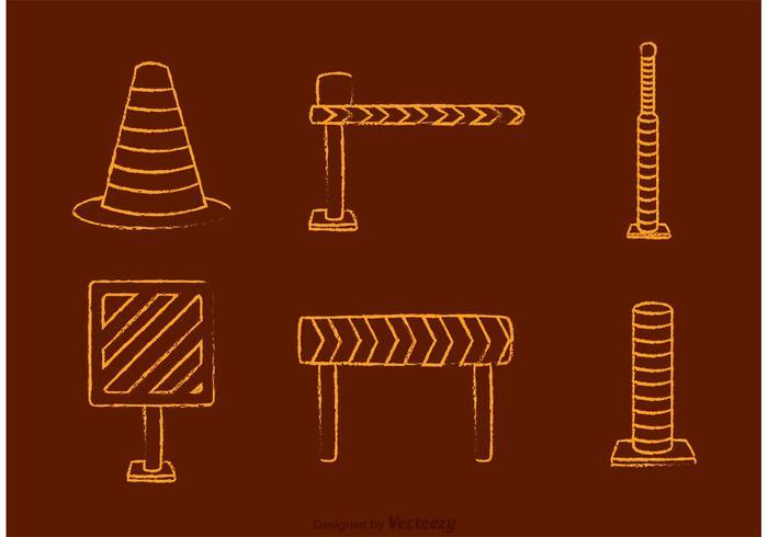 Vetor de ícones de tráfego rodoviário desenhado por giz