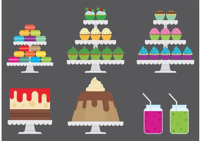 Vetores de carrinho de cupcake