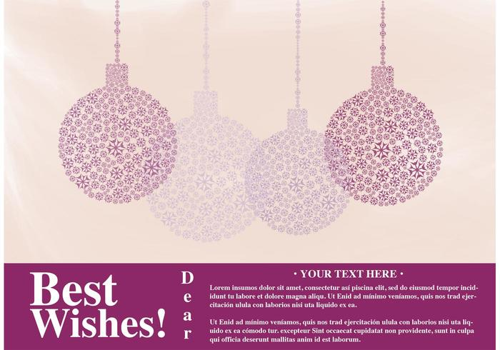 Card Best Wishes Vector with Ornaments