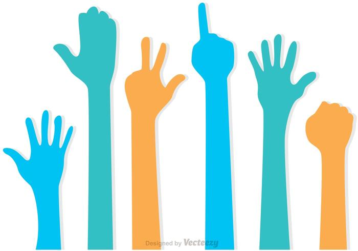 Set of Hands Up Vectors