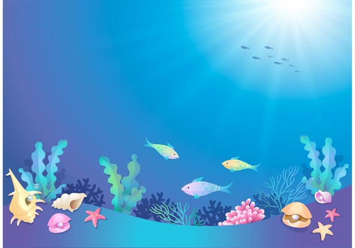 Mundo subaquático de desenhos animados de vetores livres