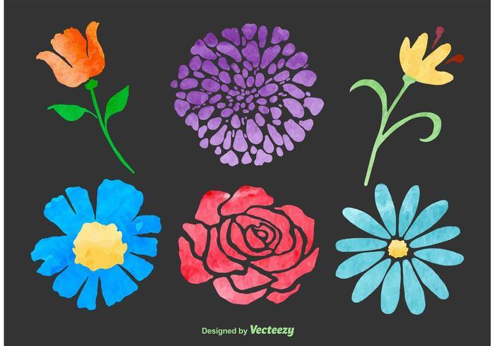 Flores de vetor de aquarela