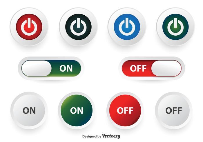 Conjunto de botões desligado e ligado vetor
