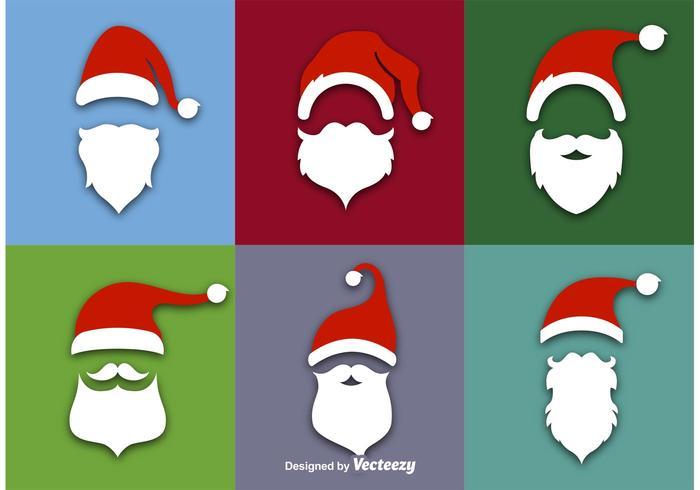 Ícones de vetor plano do Papai Noel