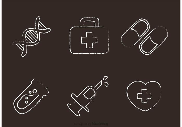 Vector de ícones médicos desenhados por giz