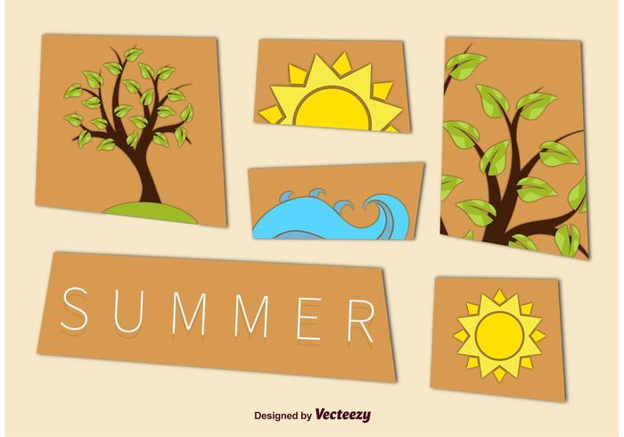 Summer Tree e Beach Graphics vetor