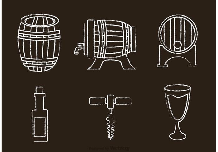 Ícones de vetor de uísque desenhado com giz