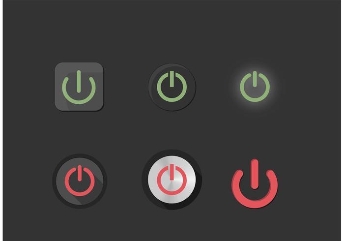 Em botões de botão de poder de energia configurados vetor