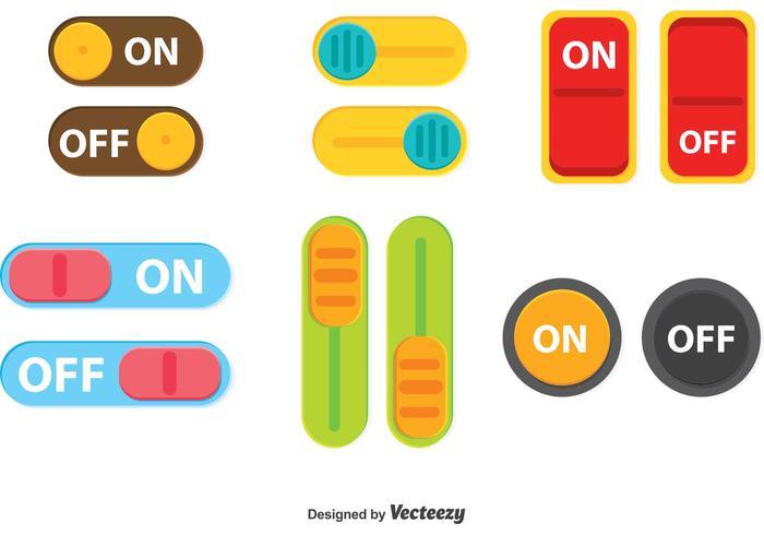 Colorido, desligar, botão, botão, vetorial vetor