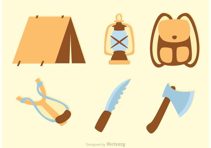 Vetores de ícones de acampamento