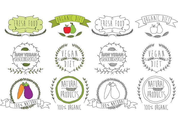Vetores de logotipo de alimentos naturais