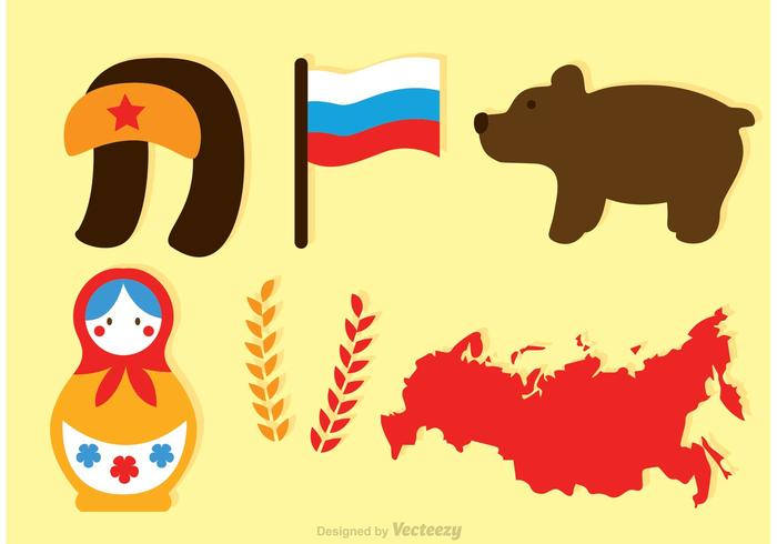 Ícones planos do vetor russo