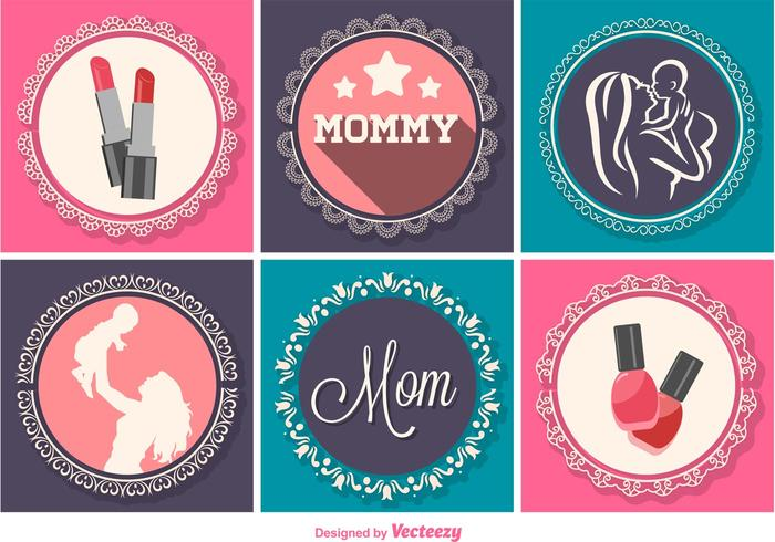Decoração gráfica do dia das mães vetor