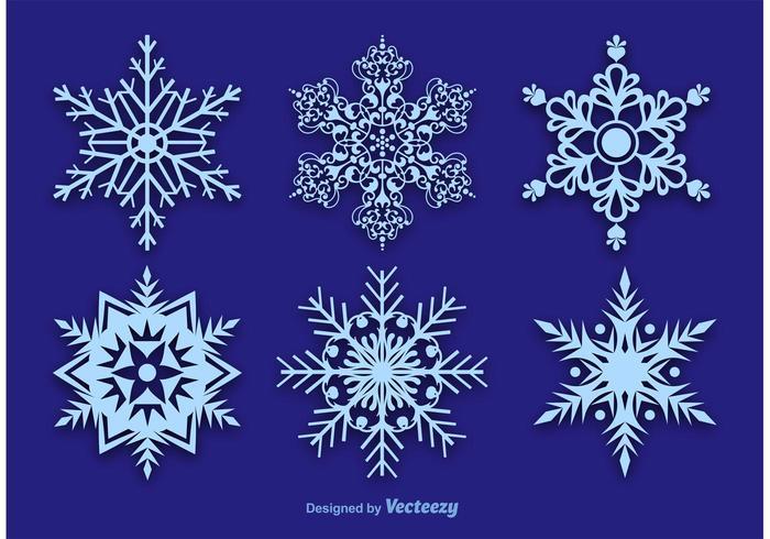 Decorações de flocos de neve vetor