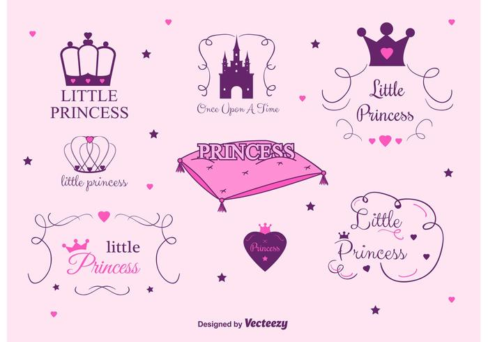 Conjunto de etiquetas do vetor Princess Castle