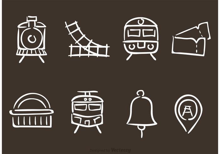 Ícones do vetor da estrada de ferro desenhada à mão