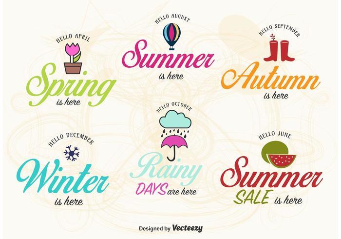 Vetores de etiqueta Primavera, Verão, Outono e Inverno
