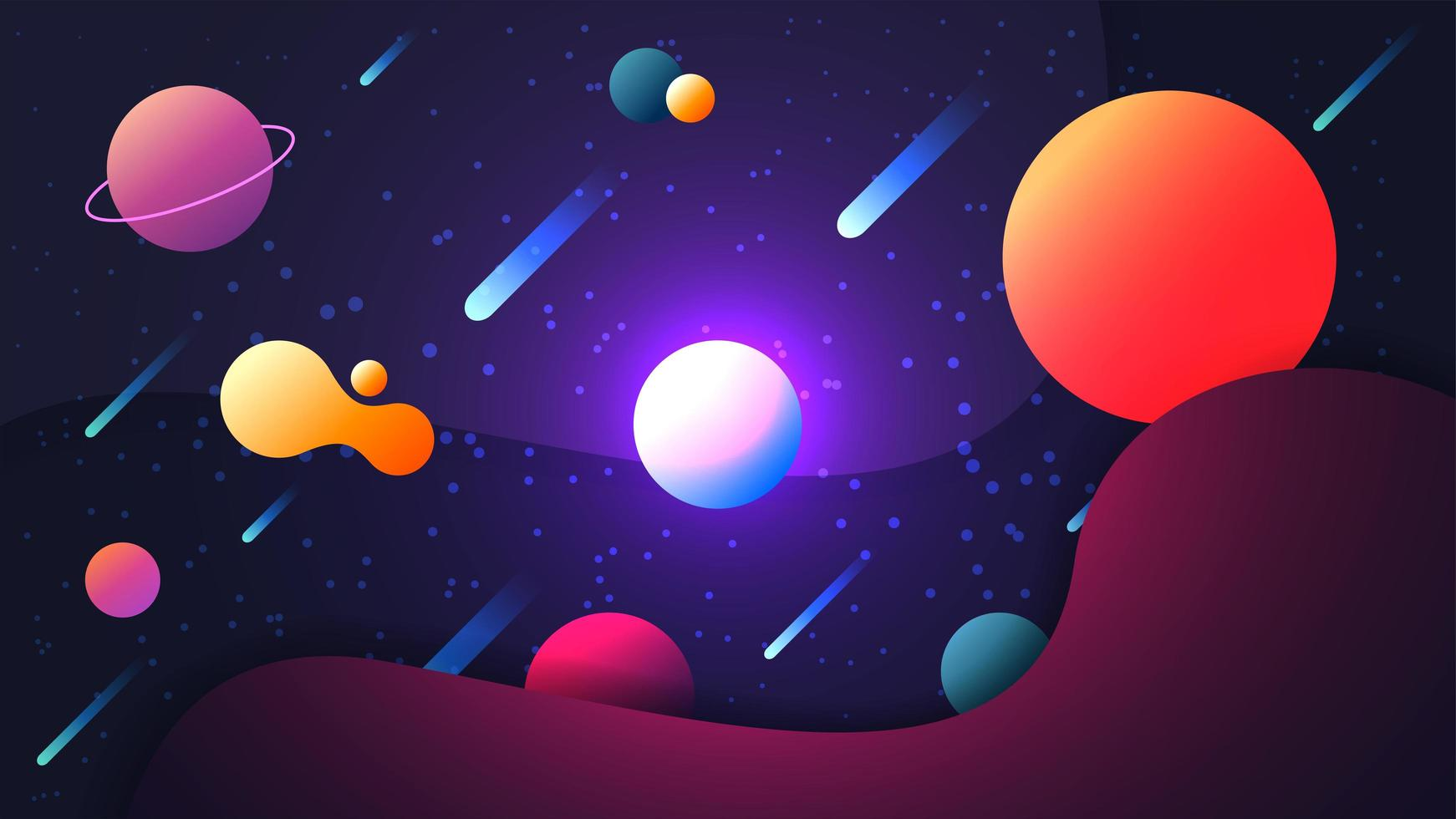 cena de espaço brilhante colorido vetor