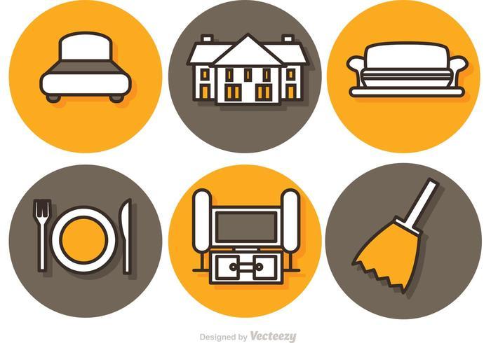 Ícones do vetor interior do lar
