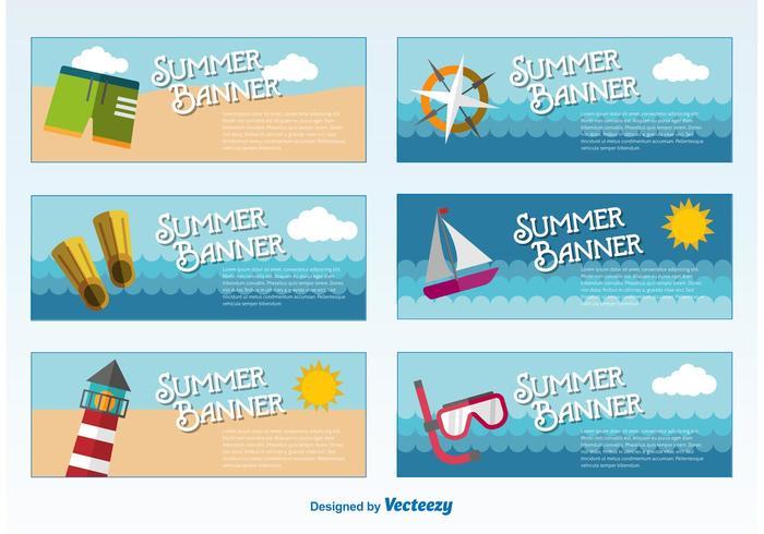 Modelos de banners de verão vetor