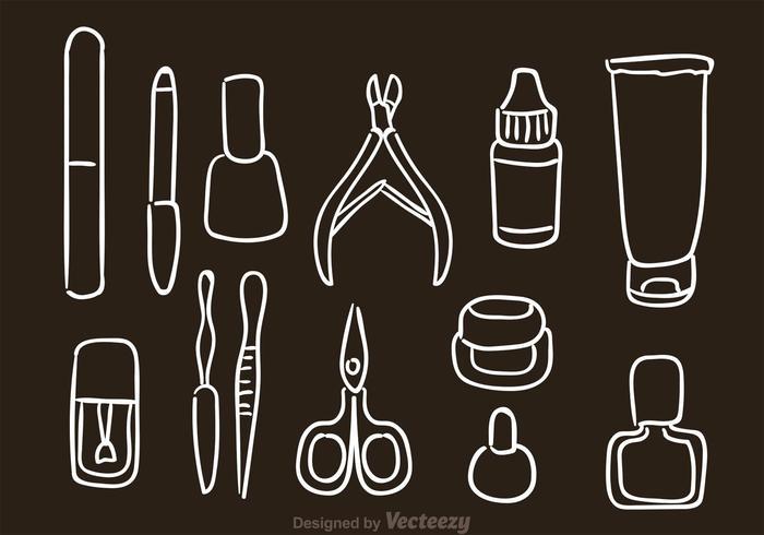 hand drawn manicure pedicure vetor ícones