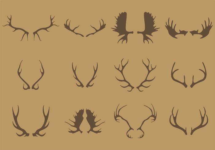 Antlers silhueta vetores
