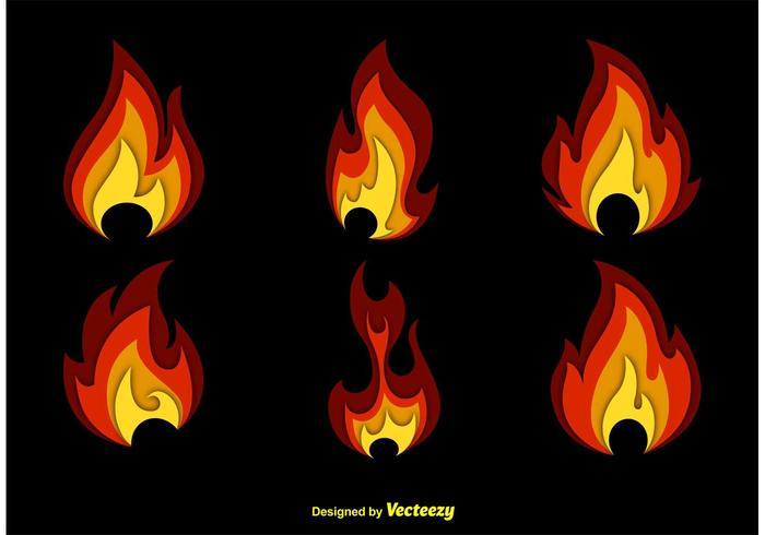 Conjunto de ícones de incêndio vetor