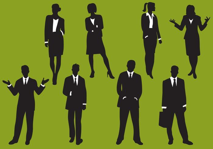 Silhuetas de negócios de mulher e homem vetor