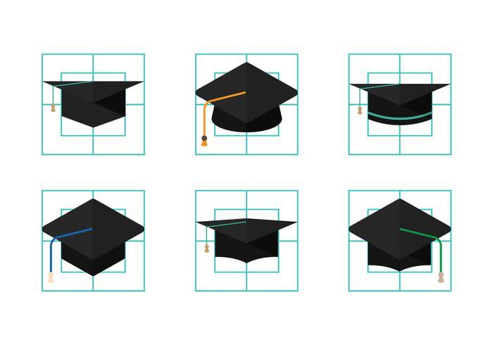 Vetores de chapéu graduado